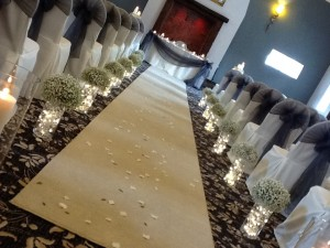 Simply Gypsophila aisle runner available too - these can be used as centre pieces after the ceremony